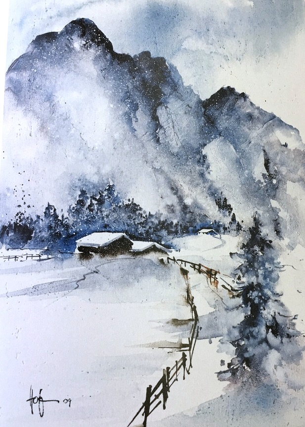 Winterlandschaft Aquarelle Ekkehard Hofmann