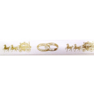 Band Hochzeit weiss-gold 25 mm
