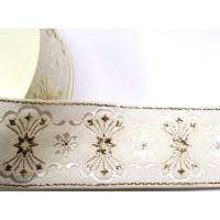 Tischband festlich 50 mm weiss/gold