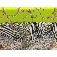 Feinjersey querelastischer m. Perlenketten bedruckt