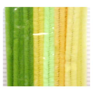 Chenilledraht 9 mm/30 cm gruen/gelb sort.