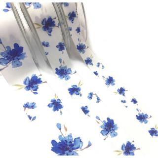 Dekoband Blumen Lily fb. blau/weiss br.25 mm