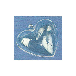 Plastik Herz 2 tlg. 6 cm, glasklar