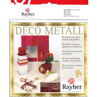 Design-Metall rot/gold Blattgold 14x14cm