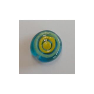 Glasperle Exklusive Designer Perle ca. D= 1,80cm, blau-gelb-gruen