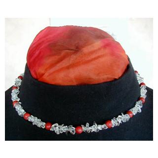 Halskette  Bergkristall u. Schaumkoralle 48 cm lang