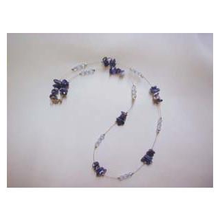Halskette  Sodalit m. Glasschlifp.. 44 cm lang