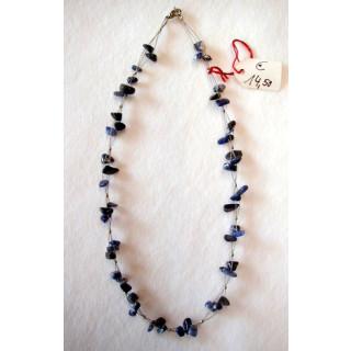 Halskette Sodalit mit Silberperlen 42 cm lang
