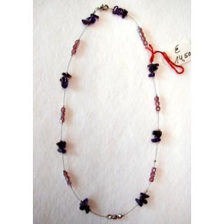 Halskette Amethyst mit Glasschliffperlen 42 cm lang