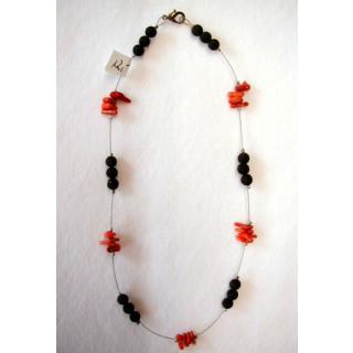 Halskette  Lava u. Koralle 40 cm lang