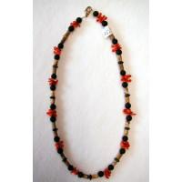 Halskette  Lava u. Koralle  sowie Mix 42 cm lang