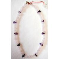 Halskette  Rosenquarz u. Amethyst 47 cm lang
