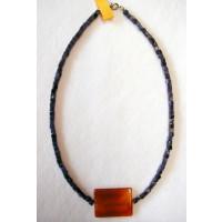 Halskette  Sodalit und Karneaol 47 cm lang