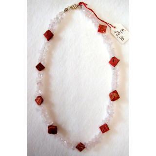 Halskette  Rosenquarz u. Koralle 45 cm lang