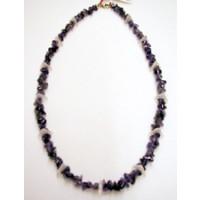 Halskette Amethyst u. Bergkristall dreieck 47 cm lang