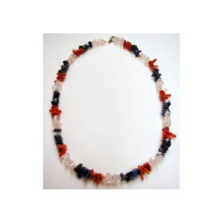Halskette Koralle, Sodalit u. Bergkristall  45 cm lang