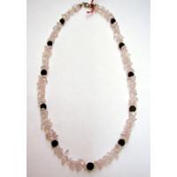Halskette Rosenquarz und Lava 44 cm lang