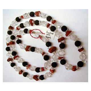 Halskette Bergkristall, Lava u. Koralle m. Silberteile 110 cm lang