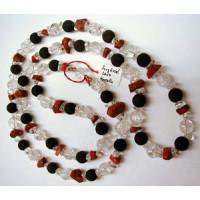 Halskette Bergkristall, Lava u. Koralle m. Silberteile...