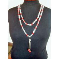 Halskette Bergkristall u. Koralle 200cm lang