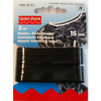 Elastic-Einfassband 15mm/ 2m Schwarz Gold-Zack