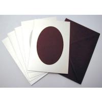 Le Suh Kartenset 5 Stck. silber/weinrot Diagonale