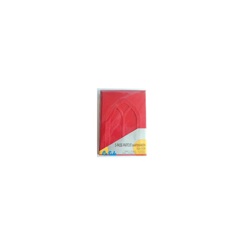 Kartenset Passepartout 5 Stck. rot, Fenster
