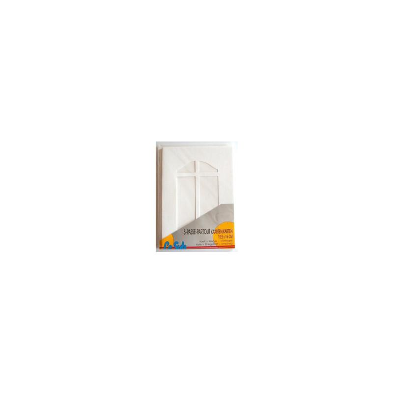 Kartenset Passepartout 5 Stck. weiss, Fenster