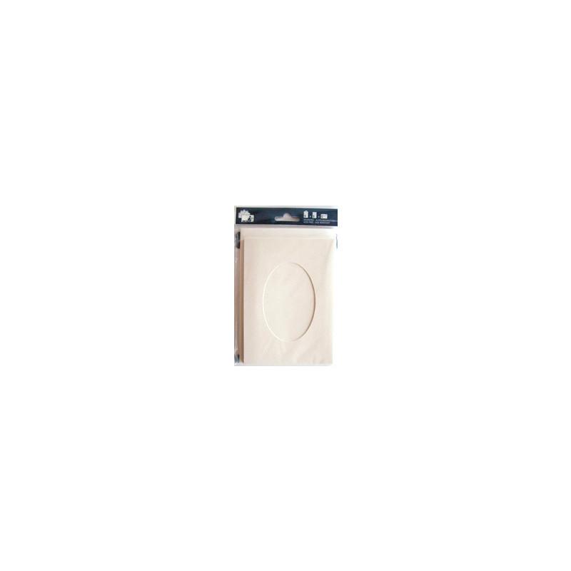 Kartenset Passepartout 5 Stck. creme, Fenster oval