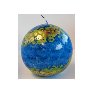 Kerze Deko-Kugel blau gemustert  9x9cm