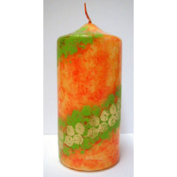 Kerze Deko orange gemustert  D=6cm x H 12cm