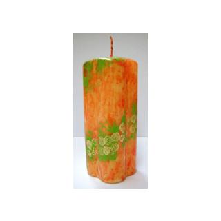 Kerze Deko orange gemustert Säule  D=6cm x H 15cm