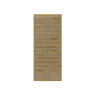 ABC in gold 1 cm, Klebeschrift