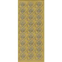 Blueten, in gold, Klebeschrift