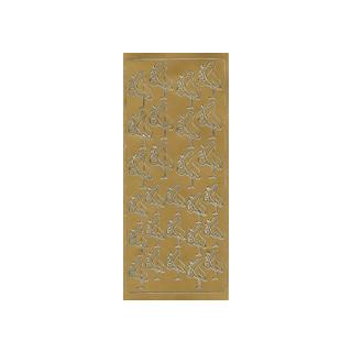 Storch, in gold, Klebeschrift