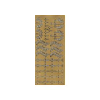 Kreuze, in gold, Klebeschrift