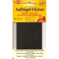 Kleiber Aufbügel-Flicken 100% BW schwarz 30x6 cm