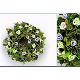 Blätter-Röschen-Kranz grün-flieder ø24cm