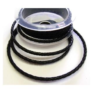 Leder gekordelt  schwarz D= 4 mm