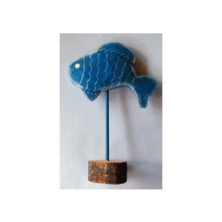 Fisch stehend blau