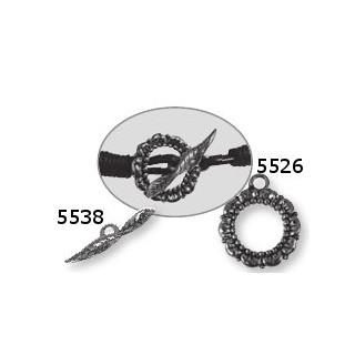 Metall-Verschluss Zierelement, 24mm Öse 2mm ø, altsilber