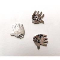 Metall-Anhänger _Hand_, altplatin 1 x 1 cm Stück