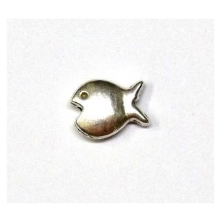 Metall-Zierelement, Fisch, 14 mm, Loch ø 1 mm, altsilber