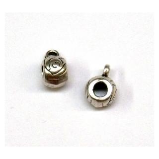 Metall-Perle mit Öse, ø 8 mm, ø 1,5 mm Öse, altsilber