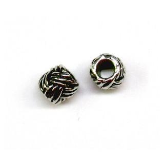 Metall-Perle, ø 8 mm, Großloch ø 4 mm,  altsilber