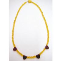 Halskette Glasschliffperlen gelb u. rot 44 cm lang