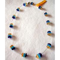Halskette Glasperlen blau, türkis u. beige 45cm lang