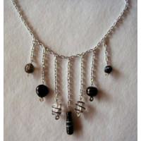 Halskette Glasperlen  mit Dekoperlen schwarz 42cm lang