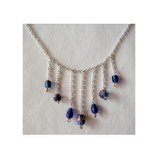 Halskette Glasperlen  mit Dekoperlen blau 47cm lang