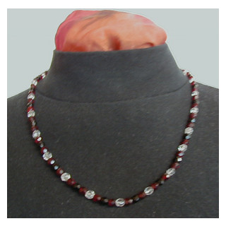 Halskette Glasperlen schwarz, rot u. glar 60 cm lang